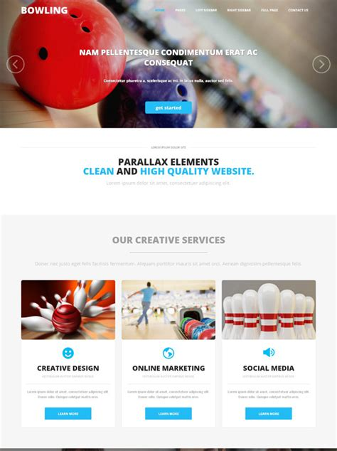 Bowling Competition Web Template Bowling Sports Dreamtemplate Competition Website Template