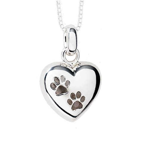 paw necklace paw print cremation pendant sterling silver two paws puffed keepsake necklace