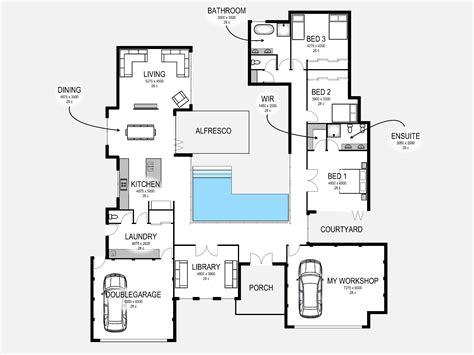 blueprint house plans images about 2d and 3d floor plan design on free plans create facade idolza