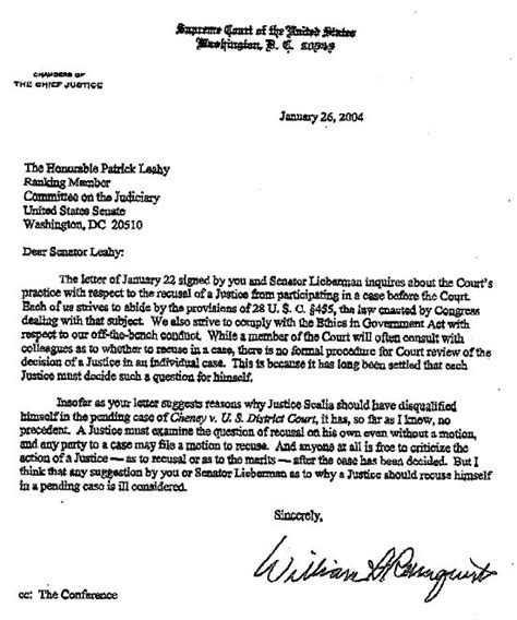 Letter To Court And Sen Joseph Lieberman Dem Ct Concerning Any U S