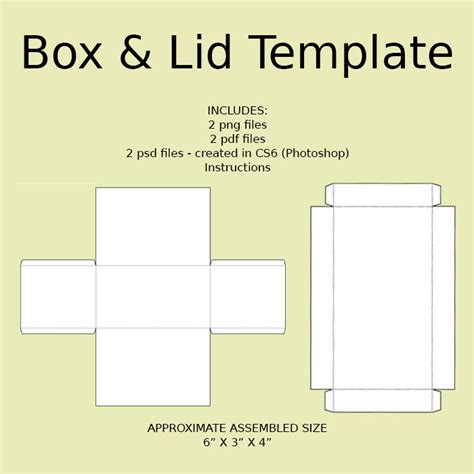 printable box template with lid digital rectangle box lid templates png psd