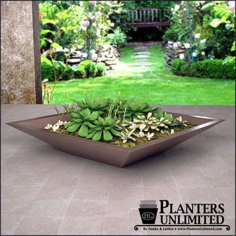 low bowl planters square tapered modern low bowl planters planters unlimited