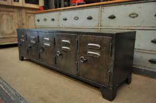 industrial sideboard with vintage metal industrial metal sideboard with five doors 1950s for sale