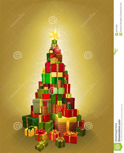 gold christmas present tree illustration stock vector