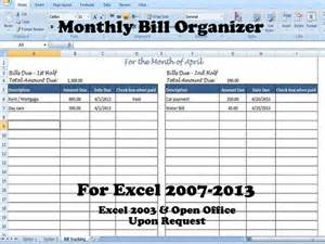 Bill Tracker Template by Monthly Bill Organizer Bill Tracker Calculates Total Due