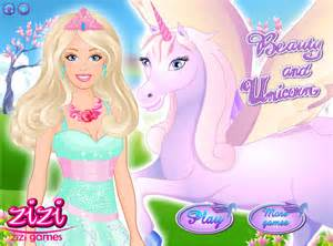 Barbie and the unicorn dress up game