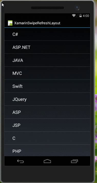 xamarin android swipe layout creating xamarin android swiperefreshlayout using listview