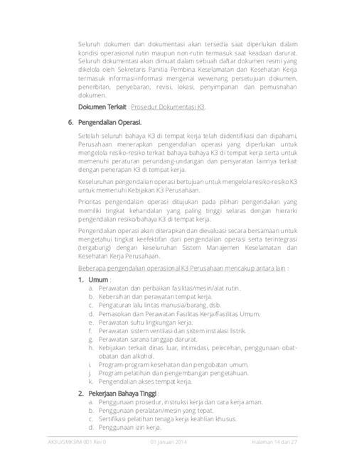 Manajemen Keselamatan Operasi pedoman sistem manajemen keselamatan dan kesehatan kerja