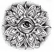 "Black And Gray Eye Mandala"" – 2012 India Ink On Paper 5"