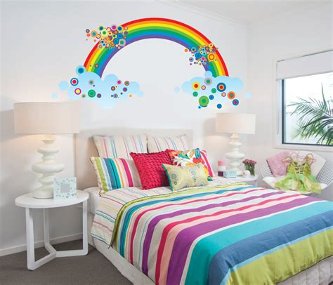 rainbow wall stickers rainbow fabric wall decal reusable large