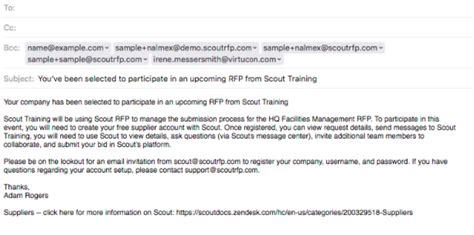 suppliers send introductory email scout rfp