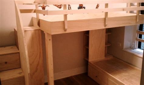 custom bed hand crafted loft bed over captains bed with drawered