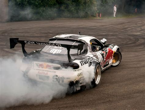 mad mike rx7 mad mike mazda rx7 drifts huge burnout sounds youtube