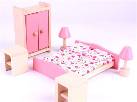 doll bedroom doll house furniture miniature 6pcs 1set bedroom wooden
