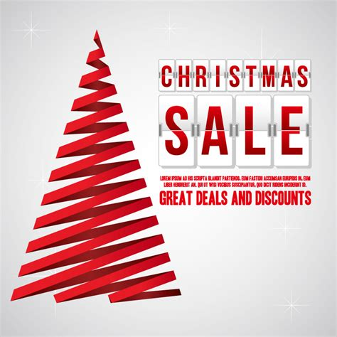christmas sale red ribbon tree vector free vector