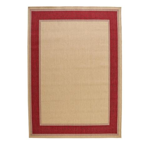 Hton Bay Border Tan Red 5 Ft 3 In X 7 Ft 5 In Hton Bay Outdoor Rugs