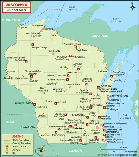 map usa airports airports in wisconsin wisconsin airports map