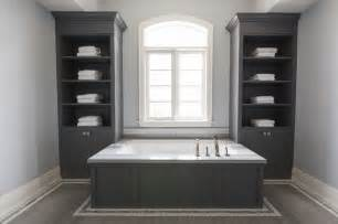 dark grey bathroom cabinets gray wainscoted tub flanked by built ins contemporary