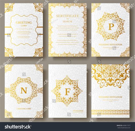 brochure template vintage set of luxury gold artistic pages with logo brochure