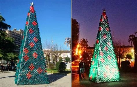 how to recycle an artificial christmas tree in fort worth tx elbasan residents create tree from 2200 recycled plastic bottles