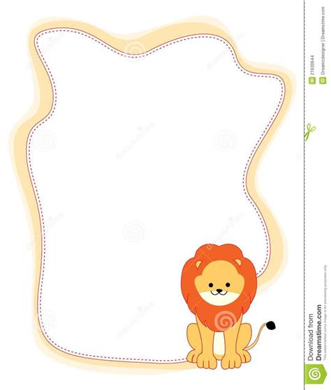 Animal border lion stock vector. Image of black, colourful