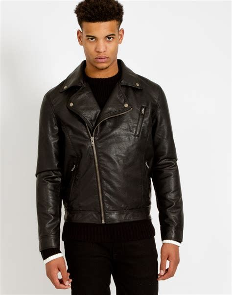 Jaket Synthetic Leather Biker lyst the idle faux leather biker jacket in black for