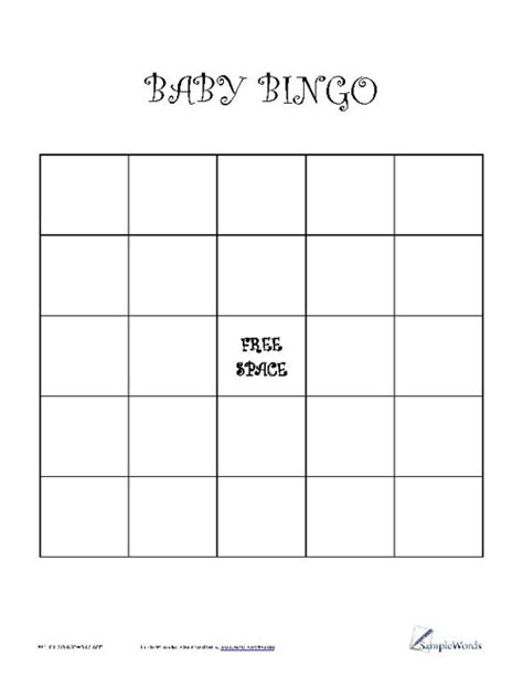 Blank Baby Bingo Card Template by Pin Bingo Blank Cards We Incorporated Free Printables