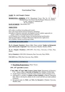 Resumes Format For Teachers by Resume Format For Teachers In India Best Letter Sle