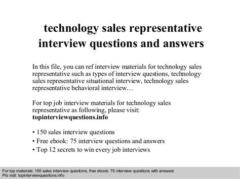 technical sales representative questions and answers