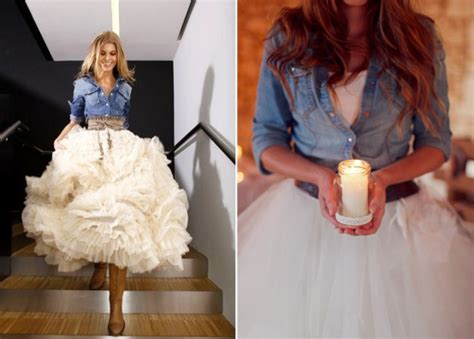 White Demin Wedding Dresses by White Gown Wedding Dress With Denim Jacket