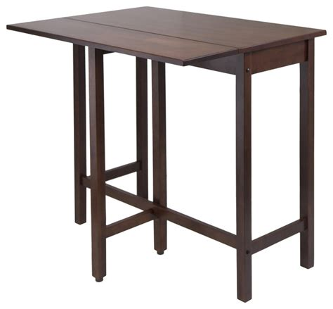 winsome lynnwood drop leaf high table in antique walnut