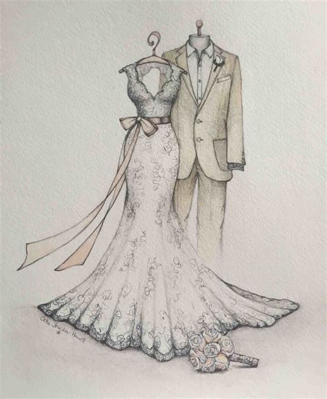 braut meaning pencil and in color drawn vintage wedding dress sketches