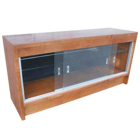 vintage restored glass wood collectible display cabinet