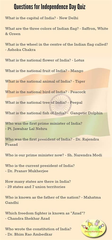 quiz questions related to independence day of india 50 independence day republic day ideas crafts food