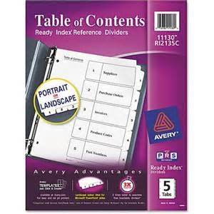 Avery classic ready index table of contents ider ave11130 walmart