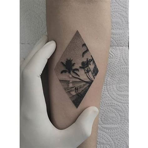 rhombus pattern tattoo fine line style beach rhombus tattoo on the inner
