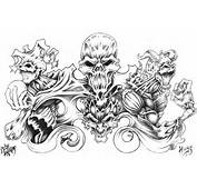Skull And Demon Tattoo Design By XXDarkReignXx