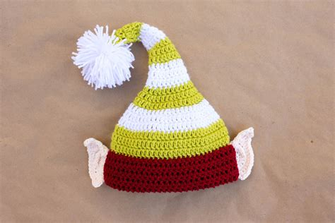 printable elf hat with ears santa s helper free crochet elf hat pattern with ears
