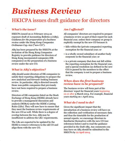 business review template sle business review 6 documents in pdf word