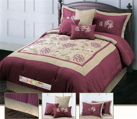 Maroon Comforter Set by 7 Pc Floral Square Bordered Embroidery Comforter Set