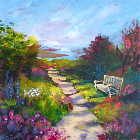 garden paintings garden path painting by paula strother