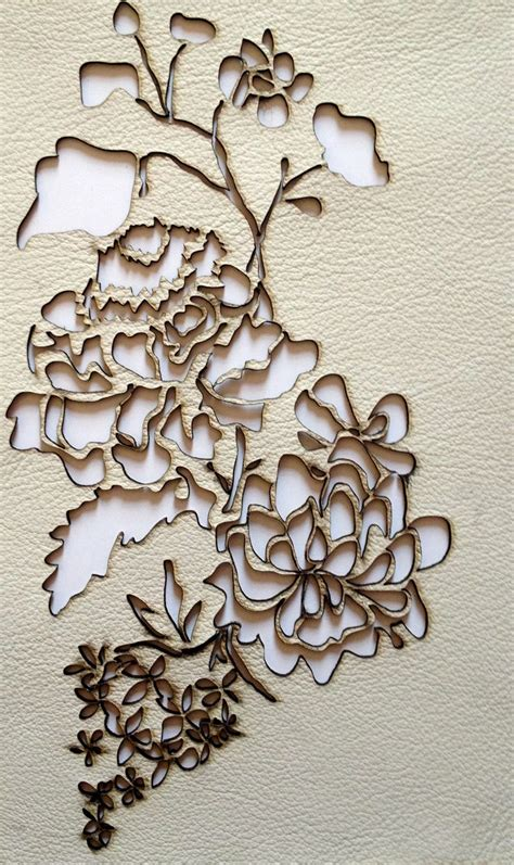 Flower Pattern Leather leather laser cut rococo floral lasercut leather flower