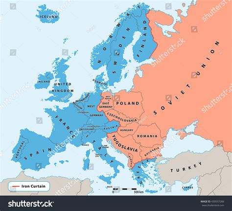 map of europe 1945 iron curtain iron curtain cold war era on stock vector 430557289