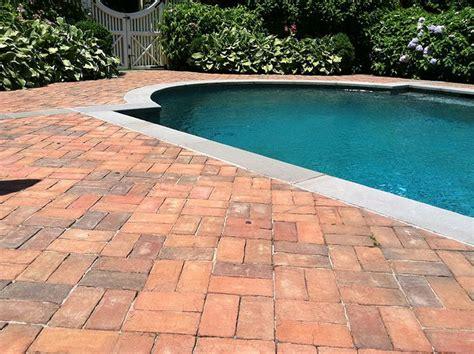 Backyard Cement Patio Ideas Red Brick Patio Around Pool Pools Pinterest