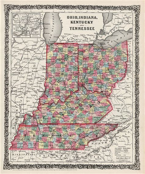 kentucky indiana map indiana kentucky ohio and tennessee state maps 1858