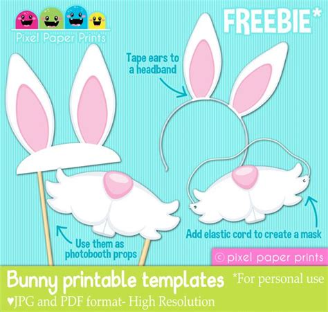printable easter photo booth props free easter bunny printable templates silhouette cameo
