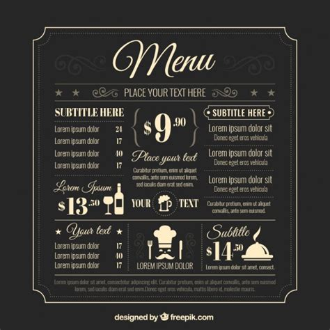 vintage menu template retro menu template vector premium