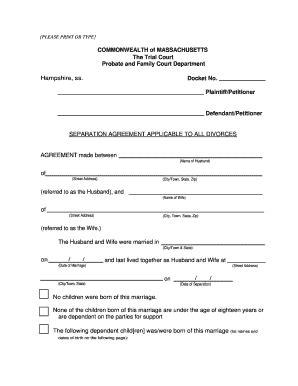Ma Separation Agreement Fill Online Printable Fillable Blank Pdffiller Divorce Agreement Template Massachusetts