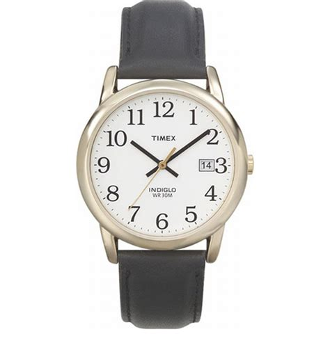 timex indiglo watch with date gold with leather band