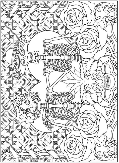 coloring page for day of the dead creative haven day of the dead dover publications sles
